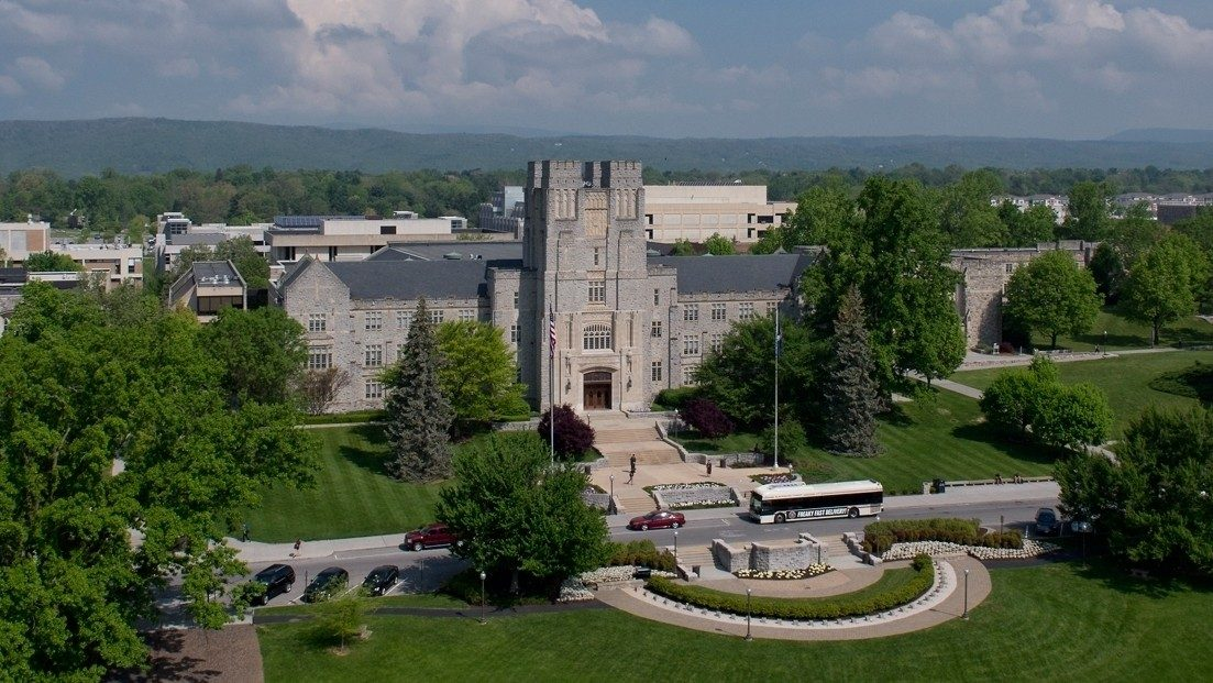 Aerial shot of Burruss Hall and the Drillfield.